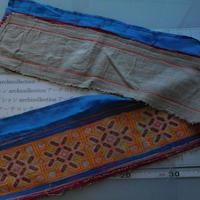 モン族のスカートのボーダー布 no.12  17 x90-100cm 麻布混 Hmong embroidery needlework はぎれ ラオス タイ