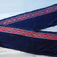 モン族のスカートのボーダー布 no.30  16 x90-100cm 麻布混 Hmong embroidery needlework はぎれ ラオス タイ