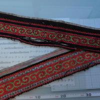 モン族のスカートのボーダー布 no.24  13 x90-100cm 麻布混 Hmong embroidery needlework はぎれ ラオス タイ