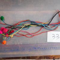 アジア民族衣装 はぎれ リス族ボンボンno.33  30センチ紐 10本セット 刺繍布 山岳民族 タイ 手芸材料 古布 手縫い紐 奇跡