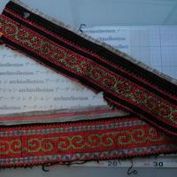 モン族のスカートのボーダー布 no.23  13 x90-100cm 麻布混 Hmong embroidery needlework はぎれ ラオス タイ