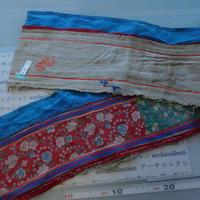 モン族のスカートのボーダー布 no.15  17 x90-100cm 麻布混 Hmong embroidery needlework はぎれ ラオス タイ