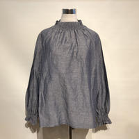 "TigreBrocante""cotton×linen shirring blouse""(navy)women's"