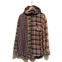 "TigreBrocante""mix flannel hoodie shirts""(orange)unisex"