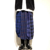 "TigreBrocante""mix flannel check long barrel skirt""(purple)women's"