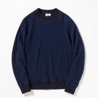 "Jackman""cotton waffle mid neck border""(blue×navy) unisex"