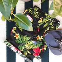 RJC cotton walk shorts (black botanical)