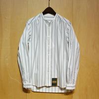 "ASEEDONCLOUD""Handwerker collarless  shirts"" (white×green stripe) unisex"