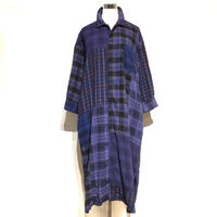 """TigreBrocante""""mix flannel check venice 9sleeves shirts one-piece""""(purple)women's"""