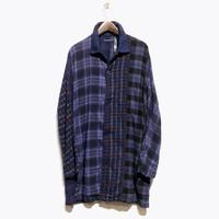 """TigreBrocante""""mix flannel check stallman coat""""(purple)unisex"""