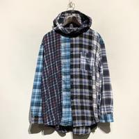 "TigreBrocante""mix flannel hoodie shirts""(fade)unisex"
