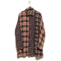 """TigreBrocante""""mix flannel check stallman coat""""(orange)unisex"""