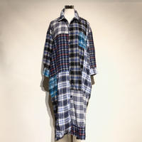 "TigreBrocante""mix flannel check venice 9sleeves shirts one-piece""(fade)women's"