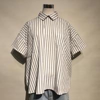 """CAERULA """"stripe big prussian shirts""""(white) women's"""