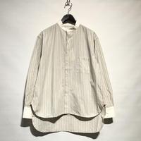 "H.UNIT ""stripe bandcollar cleric long shirts""(beige) unisex"