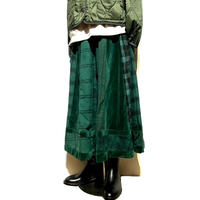 "TigreBrocante""mix velour check flare skirt""(green)women's"