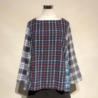 """TigreBrocante""""mix flannel check boat neck switching blouse""""(fade)women's"""
