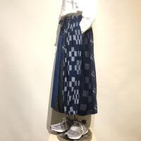 "TigreBrocante""kurume kasuri mixmix barrel long skirt""(indigo) women's"