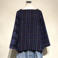 "TigreBrocante""mix flannel check boat neck switching blouse""(purple)women's"
