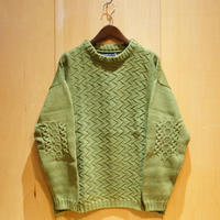"TigreBrocante""patchwork cotton sweater""(green) unisex"