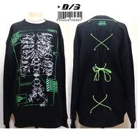 D/3/ディースリー LEEMAN×cheese 肋骨のカルテ コルセット トレーナー (黒×緑)