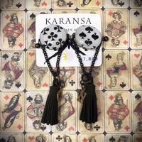 KARANSA/カランサ アンティークトランプオリジナルカボションイヤリング(オリーブタッセル) KE-11