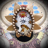KARANSA/カランサ 中世タロットのオリジナルガラスカボションのリング、「星」理想や希望がみつかる KR-8