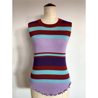 MULTI BORDER SLEEVELESS KNIT