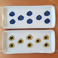 九谷焼 長角皿 パンジー青・黄色