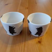 フリーカップ 黒・ クマ と栗