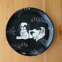 15cm皿 狆 黒・白