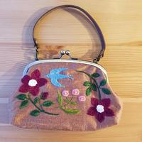 刺繍がま口バッグ 鳥と花