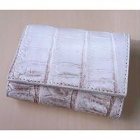 三つ折り財布 クロコダイル ヒマラヤ 小さめ 本革  ホワイト