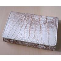 三つ折り財布 クロコダイル レザー ヒマラヤ ホワイト