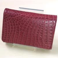 三つ折り財布 クロコダイル レッド レザー