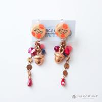 プチピアス 小鳥水玉オレンジ  / OFFICE BACTERIA