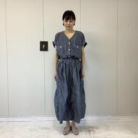 【 artepovera-2021summer55  】インディゴシャンブレー ギャザースカート