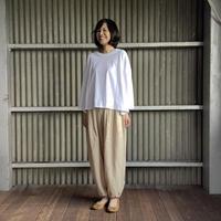 【 artea-2020spring26  】ザグリネンキャンバス 裾がしぼれる2タックワイドパンツ