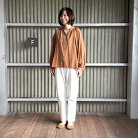 【 artea-2020spring04  】コットン/テンセル ワイドライプスタンドギャザリングシャツ