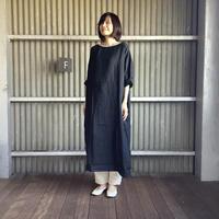 【 artea-2020spring76  】LINEN染め ボートネックロングワンピース