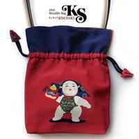No.33 KSB★2WAY  KINCHAKU 【獅子舞い】「福結び」にこにこシリーズ  [Pポーチ+内ポケット付]★オリジナルプリント&ハンドメイド少数販売品