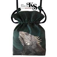 No.65 KSB★2WAY  KINCHAKU 【With Igu Green ウイズ・イグ】本体内ポケット+Pポーチ付 オリジナルプリント&ハンドメイド少数販売品