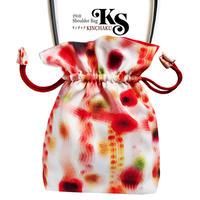 No.26 KSB★2WAY  KINCHAKU 【 赤い余韻】本体内ポケット+Pポーチ付 オリジナルプリント&ハンドメイド少数販売品