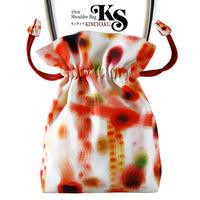 No.26 KSB★2WAY KINCHAKU 【赤い余韻】[本体内ポケット+Pポーチ付] オリジナルプリント&ハンドメイド少数販売品