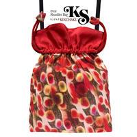 No.68 KSB★2WAY  KINCHAKU 【Red Marbleレッドマーブル】本体内ポケット+Pポーチ付 オリジナルプリント&ハンドメイド少数販売品