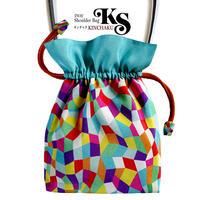 No.27 KSB★2WAY  KINCHAKU  【Bonjour, Vivia!】 本体内ポケット+ Pポーチ付オリジナルプリント &ハンドメイド少数販売品