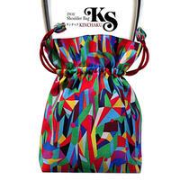 No.17 KSB★2WAY KINCHAKU 【 Hi, Vivia! 】本体内ポケット+ Pポーチ付 オリジナルプリント &ハンドメイド少数販売品