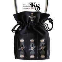 No.53 KSB★2WAY  KINCHAKU 【CROCEクローチェ】本体内ポケット+Pポーチ付 オリジナルプリント&ハンドメイド少数販売品