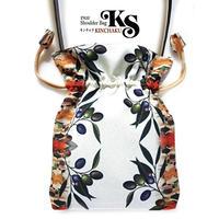No.60 KSB★2WAY KINCHAKU【OLIVE】本体内ポケット+ Pポーチ付 オリジナルプリント &ハンドメイド少数販売品