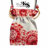 No.61 KSB★2WAY   KINCHAKU  【 Panier パニエ】本体内ポケット+ Pポーチ付 オリジナルプリント &ハンドメイド少数販売品